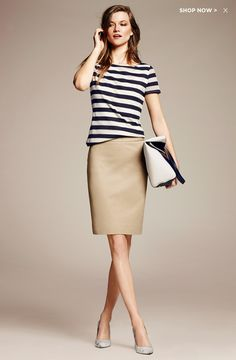 Banana Republic - not sure about the mesh look for the top but a nice spring update for a classic preppy look