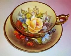 Painted J A Bailey Gold Floral Aynsley Tea Cup and Saucer Set by tracie