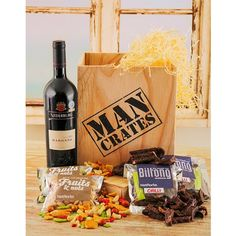 Man Crates Hamper: Red wine, biltong and nut hamper in a wooden crate...