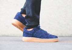 NIKE AIR FORCE 1 07 LOW SUEDE MIDNIGHT NAVY BLUE DENIM 749263 400    $110