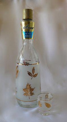 Vintage Libby Gold Leaf Arrow Vodka Decanter Arrow by chriscre