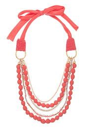 coral fabric tie and bead statement necklace - maurices.com