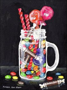 """""""My Candy Stash"""" - Original Fine Art for Sale - ©Patricia Ann Rizzo  http://www.dailypaintworks.com/fineart/patricia-ann-rizzo/my-candy-stash/287031"""