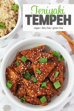 This Teriyaki Tempeh makes a delicious protein addition to any dish. Not sure what tempeh is? Read on to find out more and how to cook some tasty tempeh! Best Vegan Recipes, Tofu Recipes, Vegan Dinner Recipes, Vegan Snacks, Vegan Dinners, Asian Recipes, Gourmet Recipes, Vegetarian Recipes, Healthy Recipes