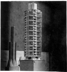 "Frank Lloyd Wright Archives relocate to New York,St. Marks's in-the-Bowerie model on exhibition at the Art Institute of Chicago. 1930. ""The Frank Lloyd Wright Foundation Archives (The Museum of Modern Art 