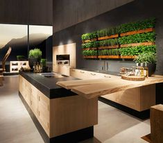 Kitchen wood/black, wooden bar
