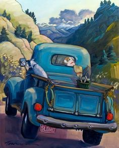 Canyon Road ~ painting by Connie Townsend Car Painting, Painting & Drawing, Truck Art, Southwest Art, Car Drawings, Arte Pop, Automotive Art, Old Trucks, Farm Trucks