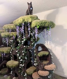 """unicornempire: """" catsbeaversandducks: """" Wolfie the Werecat and his wonderful Enchanted Forest Kitty Sanctuary. Photos by Wolfie Cat Tree made by Hollywood Kitty Company """" I feel like I'm going to go. Cool Cat Trees, Diy Cat Tree, Cool Cats, Diy Pour Chien, Animals And Pets, Cute Animals, Easy Animals, Cat Playground, Cat Room"""