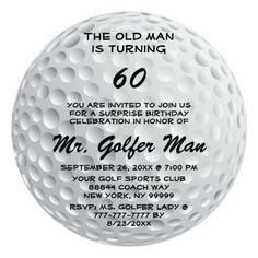 Golf Ball Sports Surprise Funny Birthday Party RND Invitation