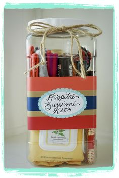 Great idea for a baby shower gift--a hospital survival kit! Fill it with special new mommy essentials and personalize using an Avery 22804 printable oval label.