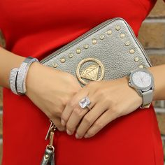 Diamond Chic Wristlet Wallet in Pewter. Diamond Mine Bracelet, Prime Time Watch in Silver, Glamour Ring