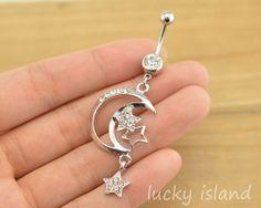 bellyringmoon and star belly button jewelrylucky by luckyisland, $5.59