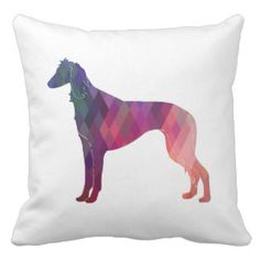 Saluki Geometric Pattern Silhouette Throw Pillow