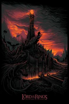 Ultracool Barad-dûr, Dark Tower of Mordor, from Return of the King poster by Dan Mumford  #mpfwshop #LOTRJewelry myprecious.us