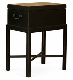 Humidor Chest Side Table, Black Walnut