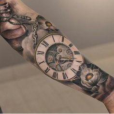Clock tattoo by @darwinenriquezat @lastritestattoo in New York City, NY…