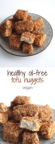 Healthy vegan tofu nuggets (oil-free) - Vegan soulfood - To eat healthy food Clean Eating Vegetarian, Clean Eating Snacks, Vegetarian Recipes, Healthy Eating, Diet Snacks, Vegetarian Nuggets, Tempeh Recipes Vegan, Vegetarian Burrito, Veggie Nuggets