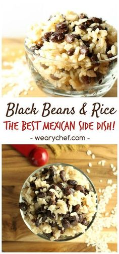 This easy black beans and rice recipe goes great with just about any meat, or use it to fill burritos. You could even add diced chicken or sausage to make a one-dish meal. It is versatile, inexpensive (Diced Chicken Meals) Mexican Food Recipes, Vegetarian Recipes, Cooking Recipes, Cooking Bacon, Paleo Meals, Cooking Tips, I Love Food, Good Food, Yummy Food