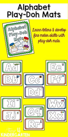 These mats are perfect for hands-on exploration with the alphabet Print on white card stock, cut in half and laminate for a fun play-doh experience. These can also be used for rainbow writing with dry erase markers.