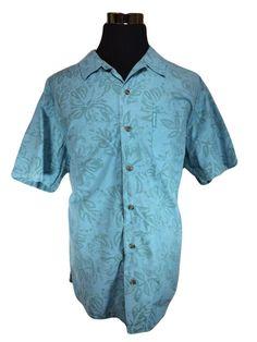 Columbia Hawaiian Shirt Mens XL Blue Green Floral Leaves Cotton Short Sleeve #Columbia #Hawaiian