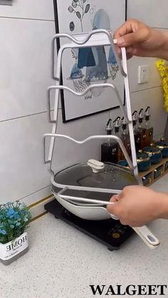 Diy Kitchen, Kitchen Gadgets, Kitchen Cabinets, Kitchen Stuff, Kitchen Ideas, Pot Lid Organization, Kitchen Organization, Stackable Laundry Baskets, Pantry Design