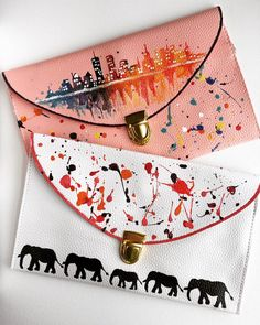 Cityscape/Elephant Print Clutch: Hand Painted by theartoftraveling