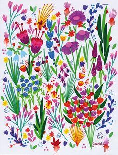 blossom, flowers, flores, ilustración, colores