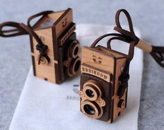 Wooden Twin Lens Camera Necklace by bRainbowshop on Etsy,