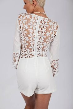 Lotus Boutique - White Floral Open Back Spring Romper  #NewArrivals, #Playsuits, #Rompers, #backless, #crochet, #detail, #floral, #ivory, #lace, #playsuit, #Romper, #sexy, #spring, #vneck, #white