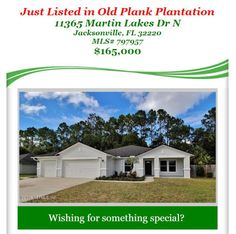 Just Listed in Old Plank Plantation: 11365 Martin Lakes Dr N, Jacksonville, FL 32220, MLS#797957, $165,000. Brought to you by INI Realty Investments Inc., the first 100% Commission Real estate Office in Jacksonville, FL. www.100RealestateJax.com