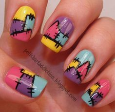 Patchwork nails... Would probably do different colors... OR all green for Frankenstein nails (Halloween).