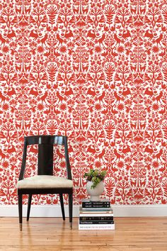 "Hygge & West | Otomi (Red) Removable Wallpaper Tiles - $28 per - Each tile is 24"" x 24"" and contains one full repeat. Perfect for renters."