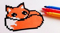 Renard Pixel Art, Drawings, Kawaii, Pixel Drawing, Graph Paper Art, Art, Cute Drawings, Youtube Art, Pix Art