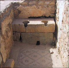 Roman Latrines at Bulla Regia. Wonderful mosaic on the floor. Bulla Regia is an archaeological site in northwestern Tunisia, a former Roman city near modern Jendouba.