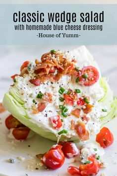 Best Salad there is! This classic and simple wedge salad is crisp and refreshing. A cold wedge of iceberg lettuce topped with a homemade creamy blue cheese dressing bacon crumbles diced tomato and chives. Perfect as a side dish for any meal or as a lunch! Blue Cheese Dressing, Blue Cheese Salad, Lettuce Wedge Salad, Iceberg Wedge Salad, Side Dish Recipes, Dinner Recipes, Side Dishes, Dinner Ideas, Recipes