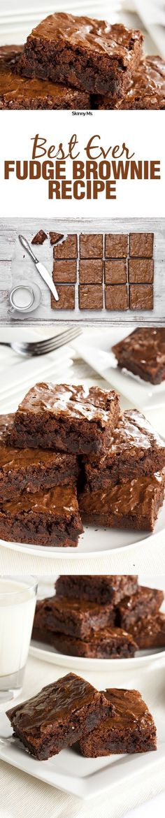 Satisfy your sweet tooth with the Best Ever Fudge Brownies! This clean brownie recipe is fudgy and delicious. Mini Desserts, Chocolate Desserts, Just Desserts, Delicious Desserts, Yummy Food, Weight Watcher Desserts, Brownie Recipes, Cookie Recipes, Dessert Recipes