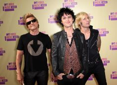 LOS ANGELES, CA - SEPTEMBER 06: (L-R) Musicians Tre Cool, Billie Joe Armstrong and Mike Dirnt of Green Day arrive at the 2012 MTV Video Music Awards at Staples Center on September 6, 2012 in Los Angeles, California. (Photo by Frederick M. Brown/Getty Images) ORG XMIT: 149866652