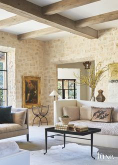 A Cozy Austin Home Exudes Old-World Elegance - Luxe Interiors + Design Living Room Designs, Living Room Decor, Living Spaces, Stone Wall Living Room, Stone Interior, Interior Design, Villa, Austin Homes, Stone Houses