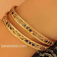 Gold Plated Bangles Pair Accented with Black Beads