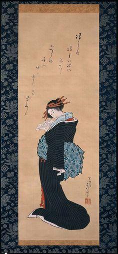 Hokusai, Courtesan, edo period, pigment on silk