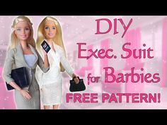 Easy Barbie executive suit with FREE PATTERN, No sew - YouTube Sewing Barbie Clothes, Barbie Sewing Patterns, Barbie Dolls Diy, Doll Clothes Patterns, Clothing Patterns, Barbie Gowns, Barbie Dress, Bjd, Free Barbie
