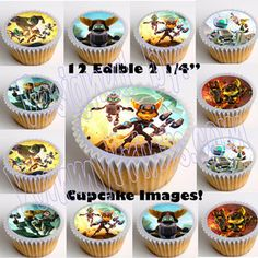 Ratchet and Clank Edible Cupcake Topper-12pcs, cut & paste, no peel