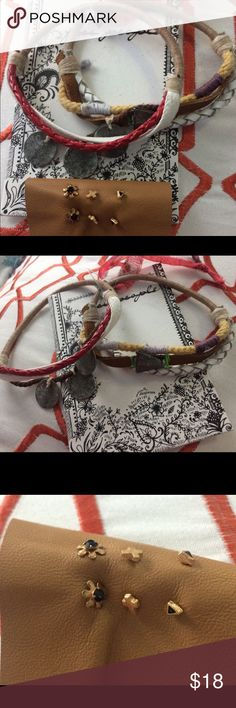 New Free People tiny earrings and hair tie bundle New Free People very tiny earrings 3 pair . With  bo ho  hair ties 2 H1 lowest price Free People Accessories Hair Accessories