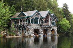 camp-topridge-boat-house stone,log, river, round windows storybook