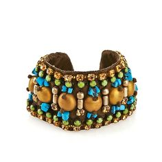 RK by Ranjana Khan Blue & Goldtone Beaded Bracelet