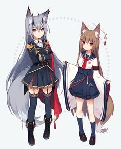 2girls animal_ears belt black_gloves blonde_hair blue_legwear boots bow breasts cape crossed_arms epaulettes expressionless…