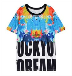 Fashion New t-shirt women brand Digital Printing Painted t shirts Loose Short Sleeve vetements femme summer Tie Dye Shirts
