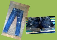 How to go from Jeans to Shorts Okay so a few days ago I realised one of my favourite pairs of jeans had torn at the kn. Diy Shorts, Old Jeans, Diy Clothes, Jean Shorts, Summer Outfits, Sew, My Style, Clothing, Blog
