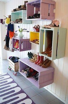 DIY - Upcycling von alten Holzkisten zu einem farbenfröhlichen Schuhregal oder Dekoregal >> Old crates make great storage shelves. / Wish I had a mud room! This is cute!