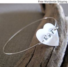 Items similar to Silver Heart Bracelet. Personalized Bracelet for her, ID Heart Bracelet. Love bracelet Gift for her Christmas Gift on Etsy Silver Bangle Bracelets, Heart Bracelet, Bracelets For Men, Heart Ring, Bangles, Personalized Bracelets For Her, Meaningful Gifts, Initials, Gifts For Her